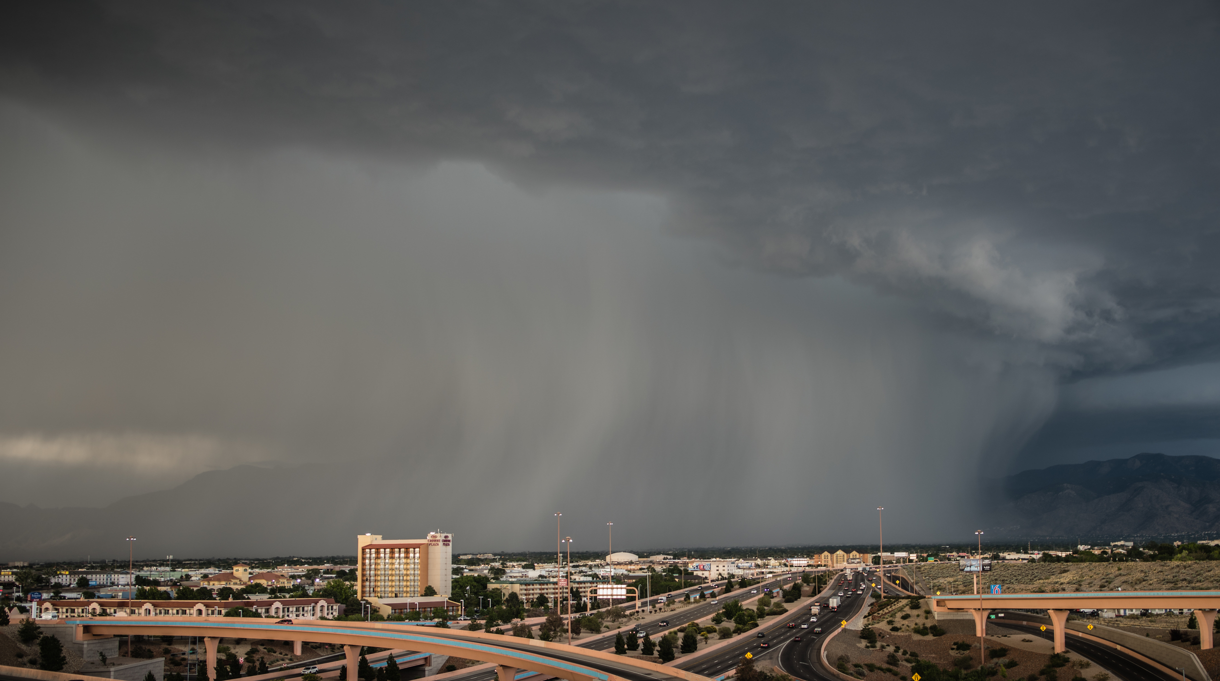 A wall of rain forms in the middle of Albuquerque