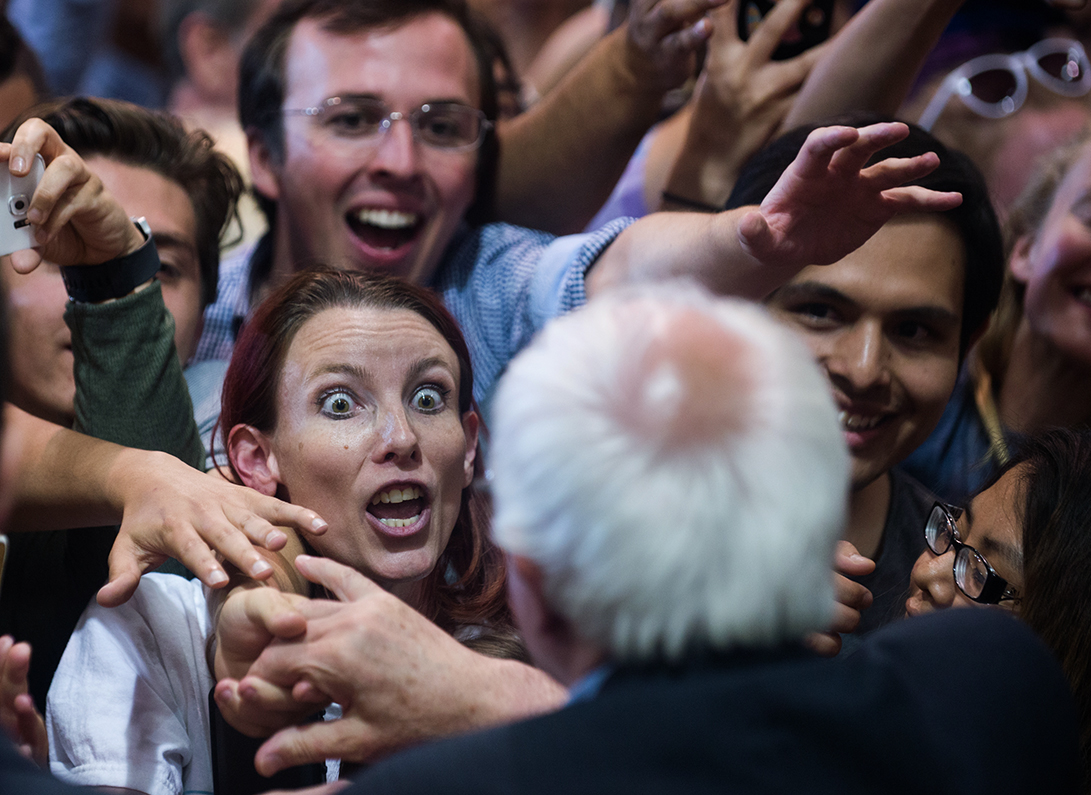 A Bernie Sanders supporter shows her excitement for the candidate following a rally in Albuquerque in May, 2016.
