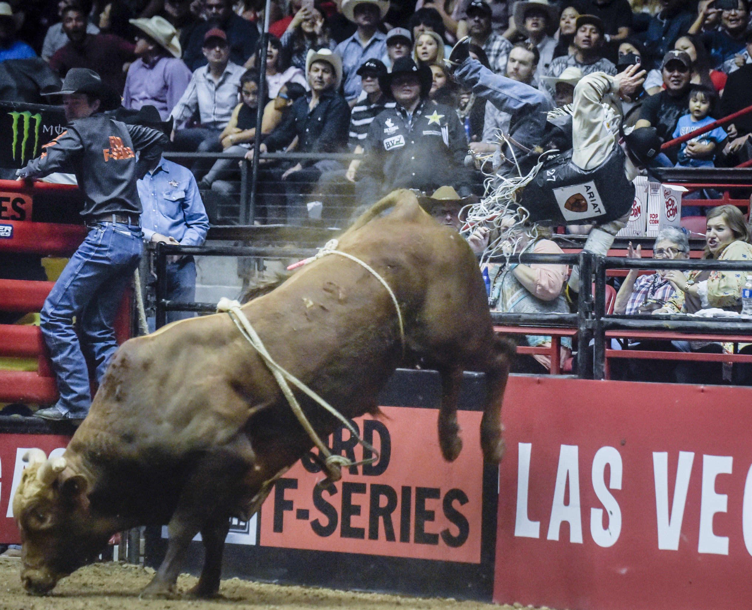 Marco Antonio Eguchi gets thrown to the first row and over the railing by the bull named Too Smooth on the second day of competition in the Ty Murray Invitational PBR event Friday evening at the Pit.  Eguchi was able to walk away with the help of a medical team.