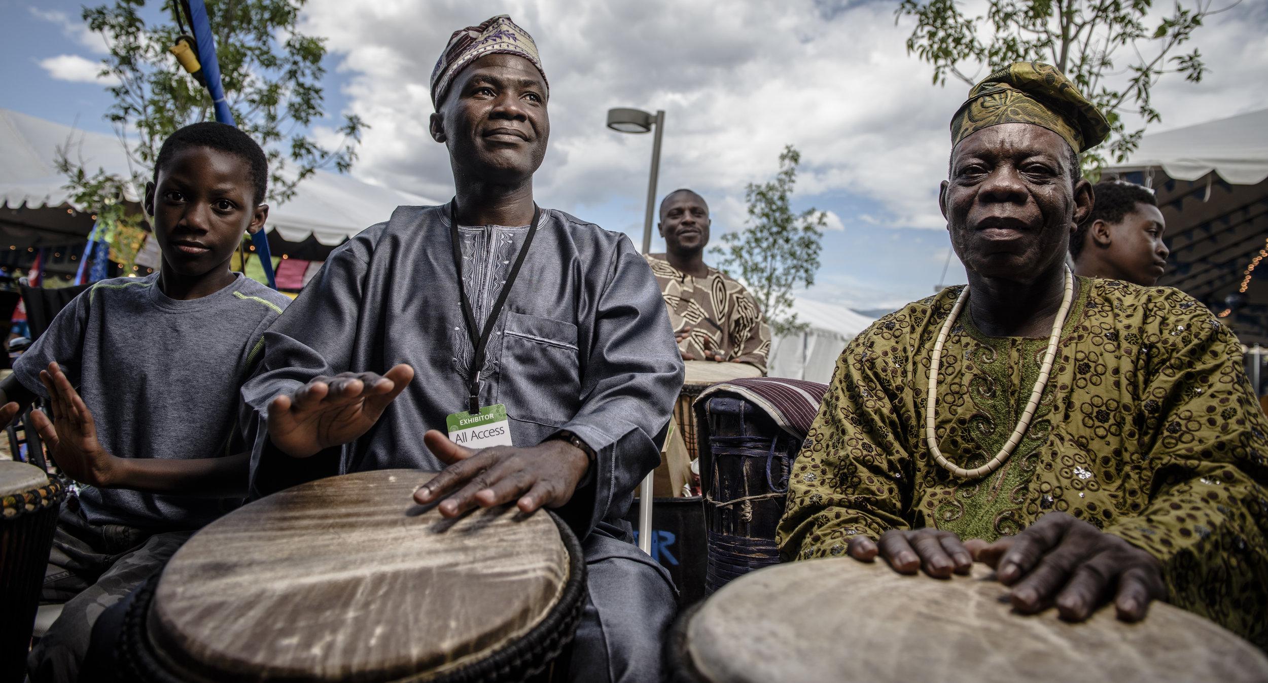 African drummers, Santa Fe Folk Arts Festival 2017