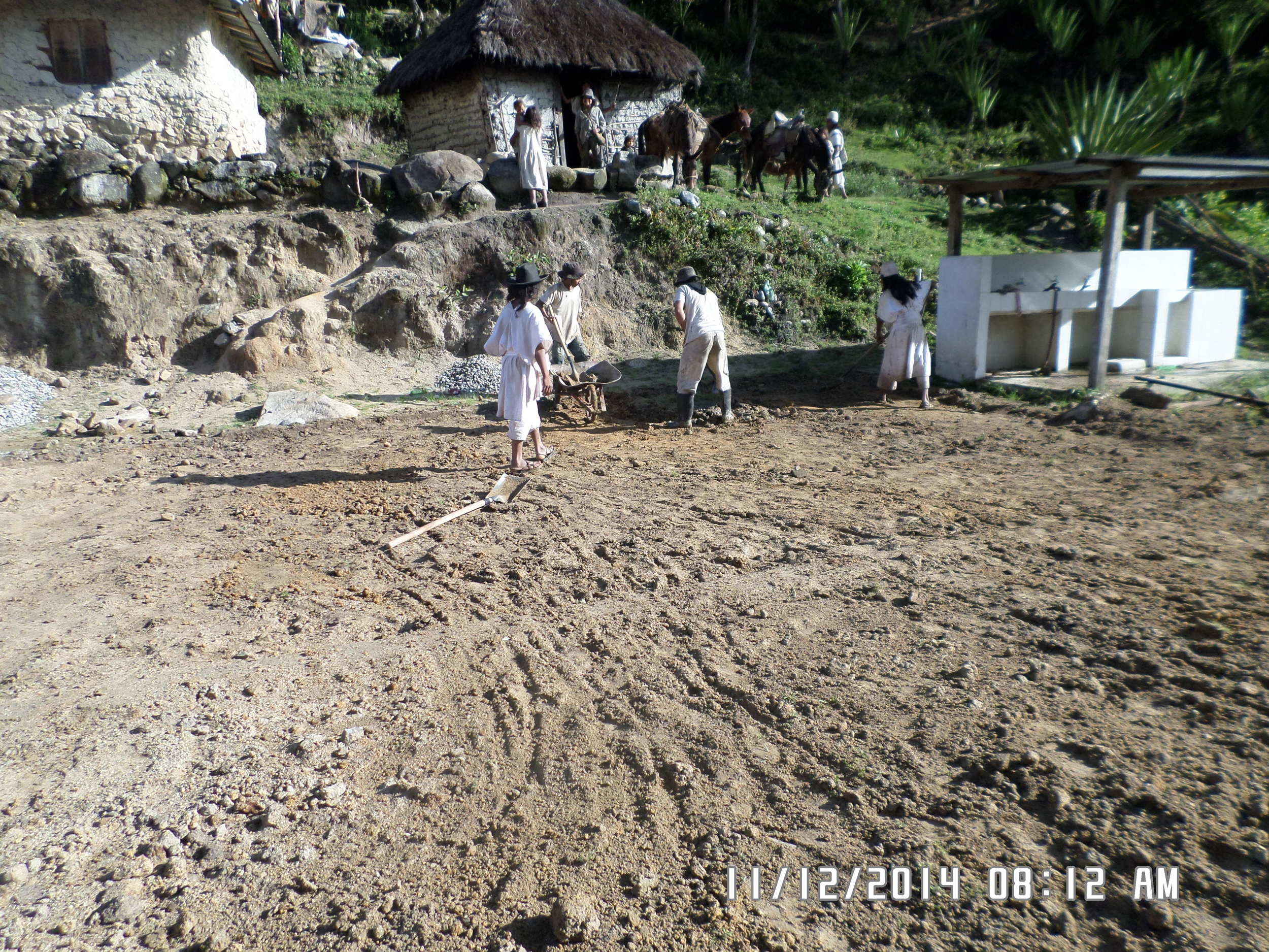 Cleaning the ground where the school is to be built