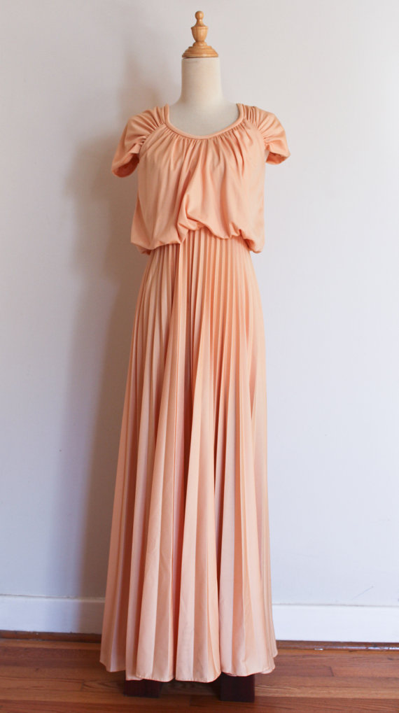1970s draped and pleated goddess dress, size small.