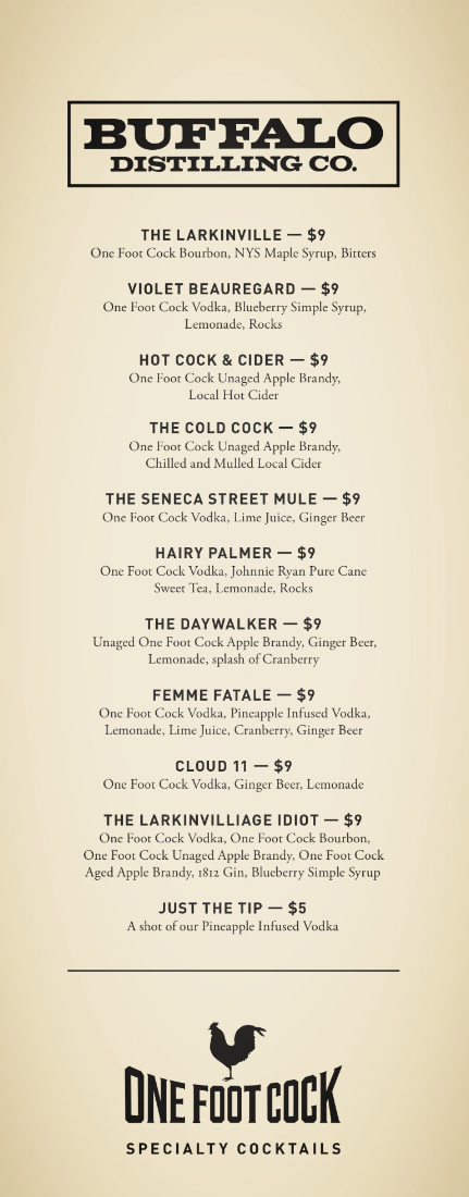 Specialty Cocktail Menu