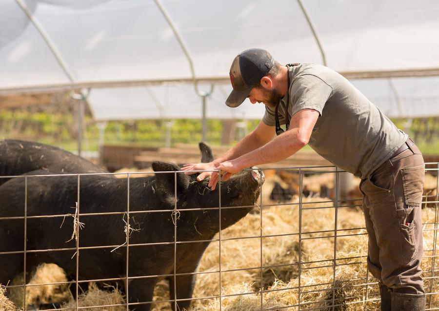 Farmer Caleb  Barron of Fogline Farm. Photo by: Jonathan Fong.