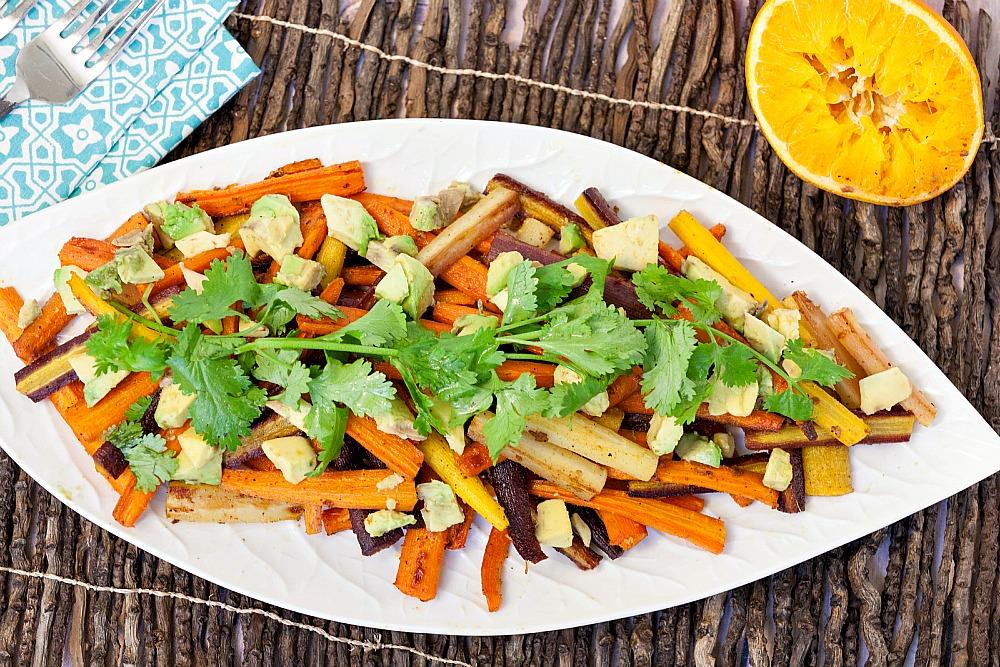 Roasted Carrots with Orange Vinaigrette and Avocado