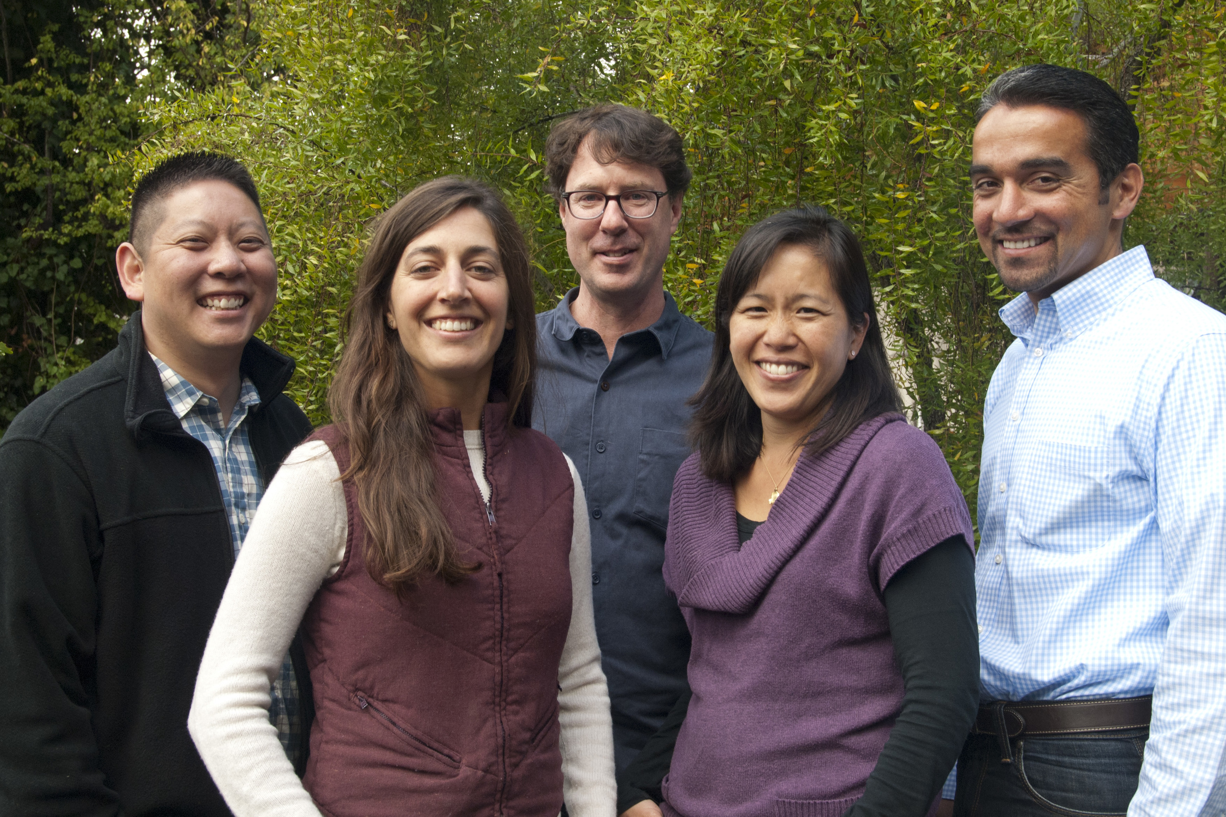 L-R: Anthony Chang  (Founder and Executive Director),  Paige Phinney  (Associate Director), Thomas Nelson (joinining us in January as Farm Business Advisor),  Pei-Yee Woo  (Associate Director)  and   David Mancera  (Farm Business Advisor)
