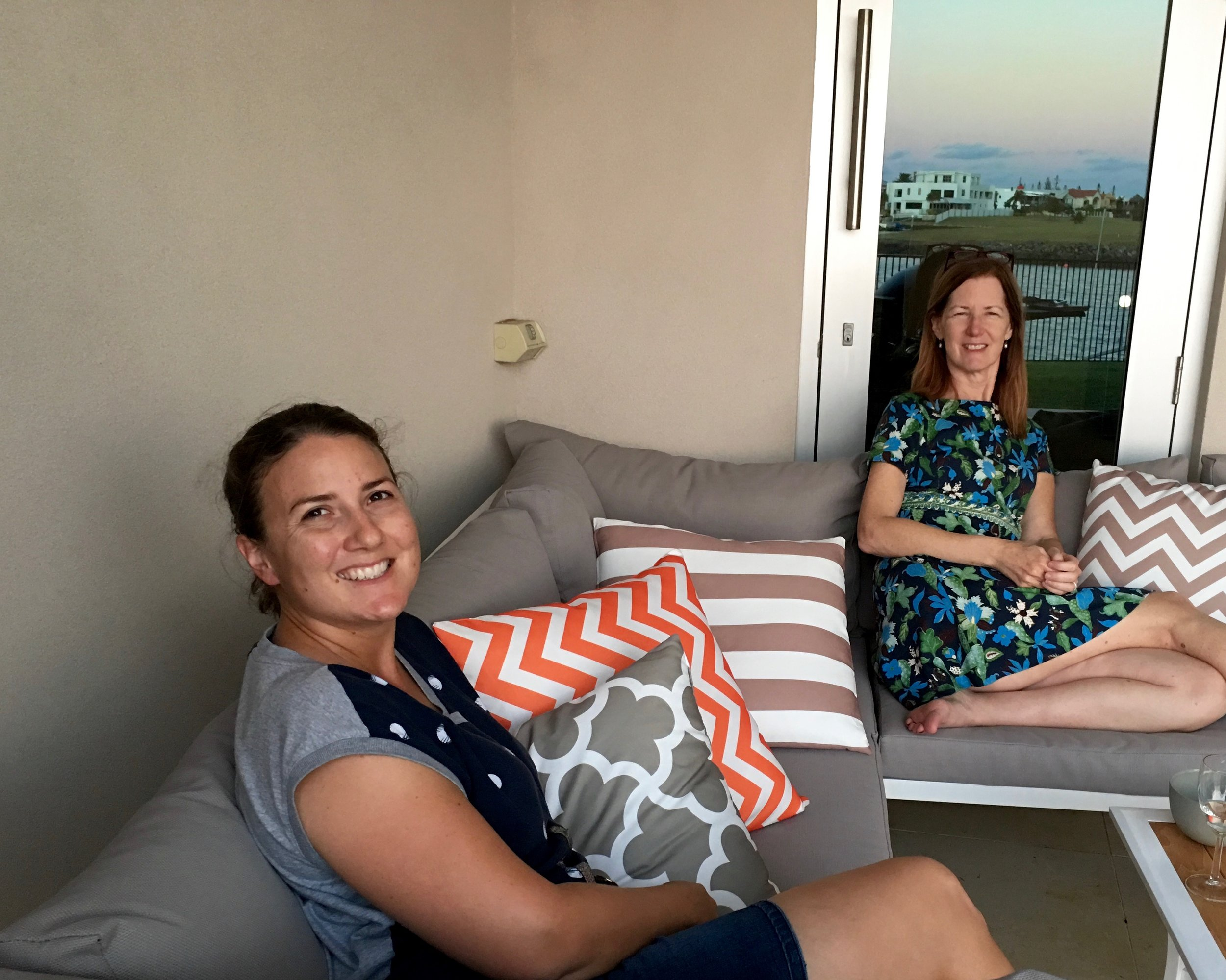 Celia Campbell and Dana on the back porch of the Campbell home in Cleveland, in Queensland, Australia.