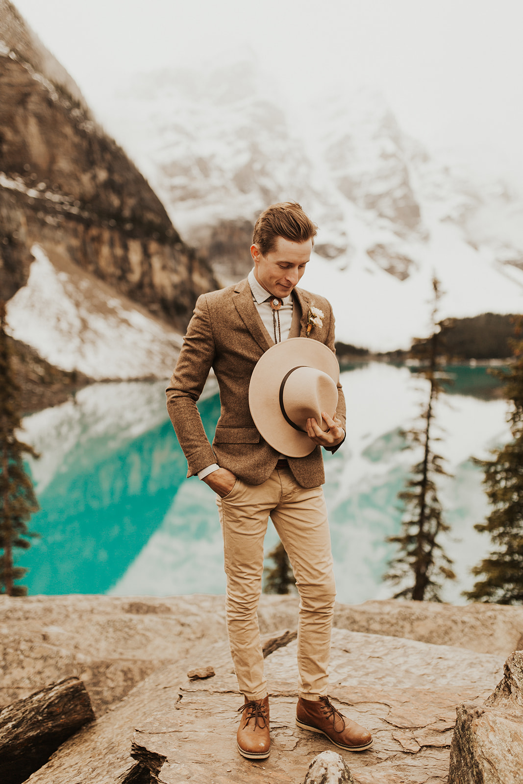 Banff Elopement l Lake Moraine Elopement l Vintage Bolo Tie l Pampas Grass Boho Boquet l Rue Design Wedding Dress l Banff Wedding Photographer l Destination Wedding Photographer l Katy Rose Photo_-9.jpg