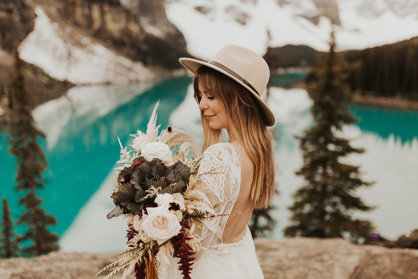 Banff Elopement l Lake Moraine Elopement l Vintage Bolo Tie l Pampas Grass Boho Boquet l Rue Design Wedding Dress l Banff Wedding Photographer l Destination Wedding Photographer l Katy Rose Photo_-24.jpg