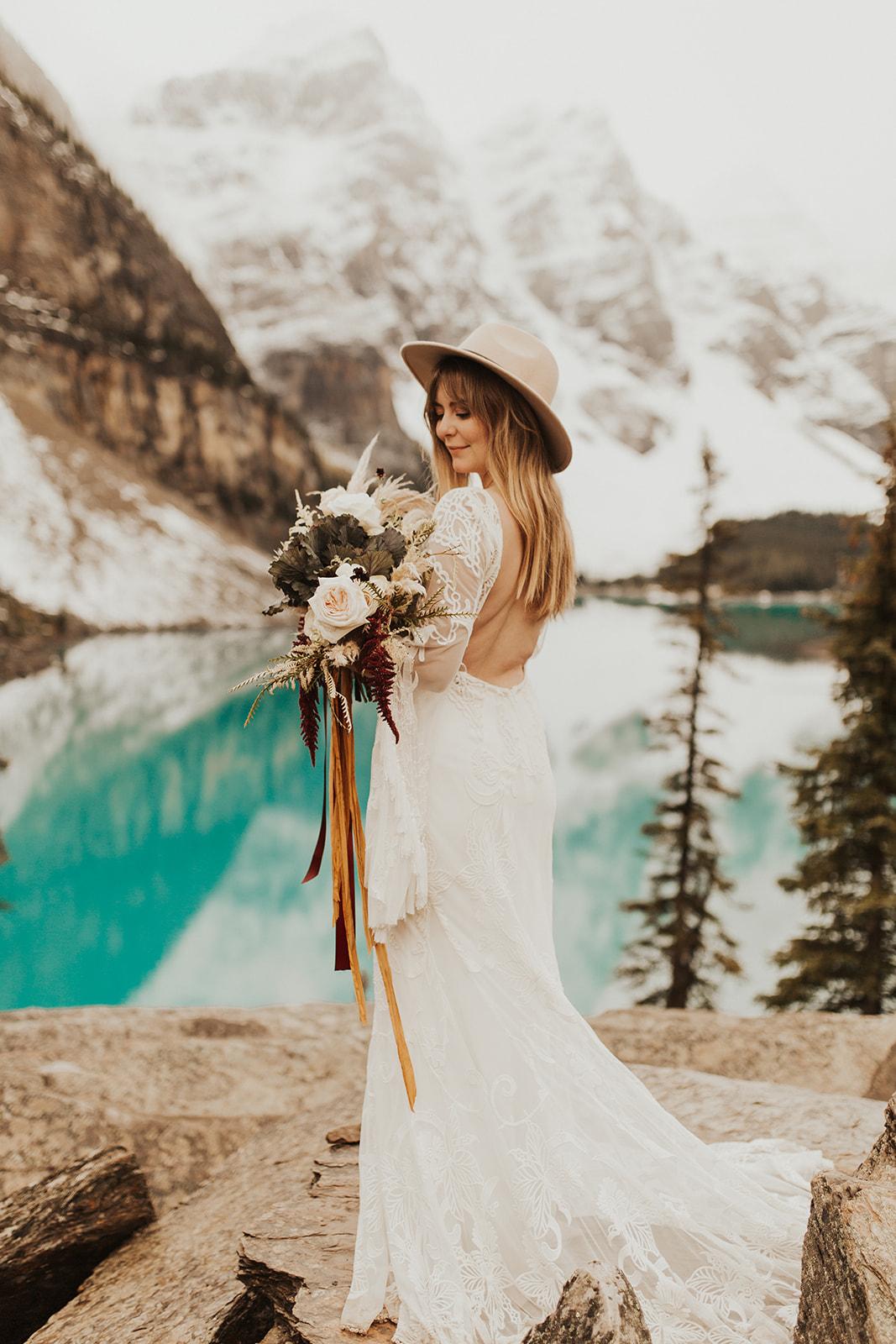 Banff Elopement l Lake Moraine Elopement l Vintage Bolo Tie l Pampas Grass Boho Boquet l Rue Design Wedding Dress l Banff Wedding Photographer l Destination Wedding Photographer l Katy Rose Photo_-29.jpg