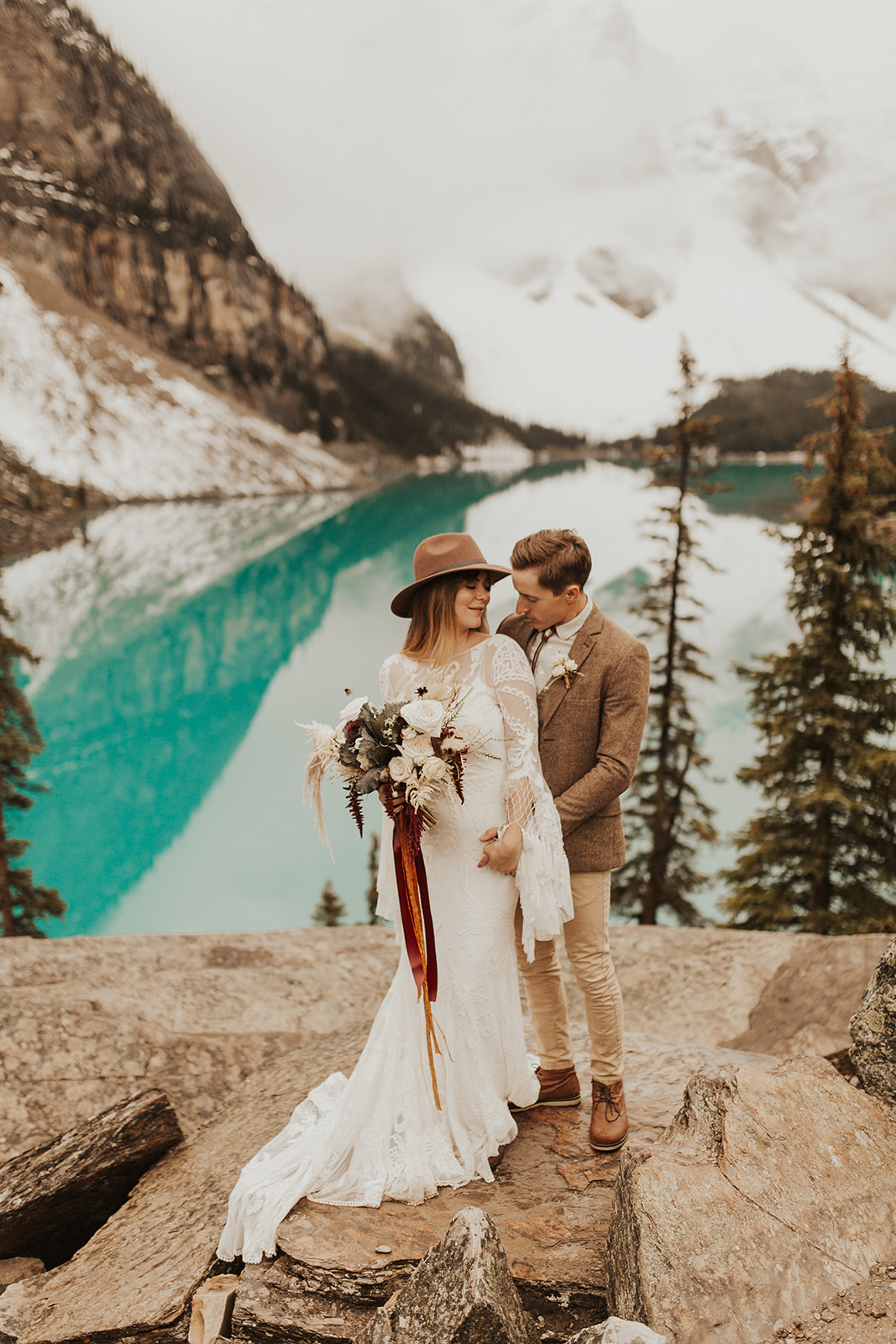 Banff Elopement l Lake Moraine Elopement l Vintage Bolo Tie l Pampas Grass Boho Boquet l Rue Design Wedding Dress l Banff Wedding Photographer l Destination Wedding Photographer l Katy Rose Photo_-36.jpg