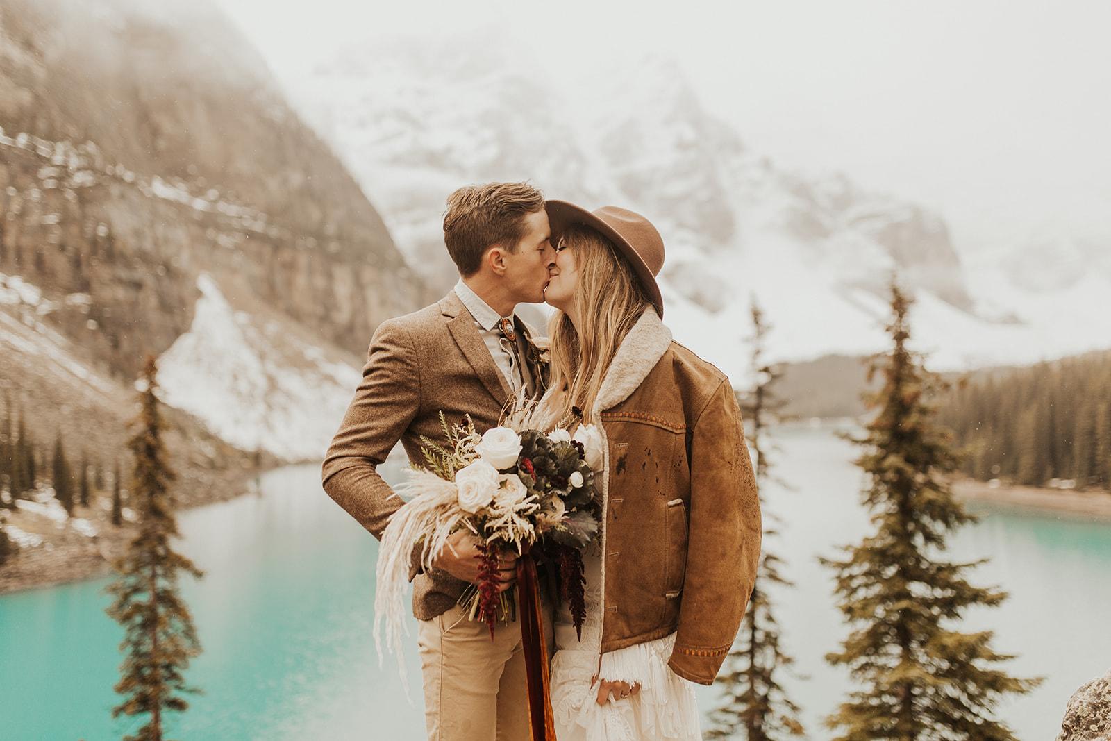 Banff Elopement l Lake Moraine Elopement l Vintage Bolo Tie l Pampas Grass Boho Boquet l Rue Design Wedding Dress l Banff Wedding Photographer l Destination Wedding Photographer l Katy Rose Photo_-54.jpg