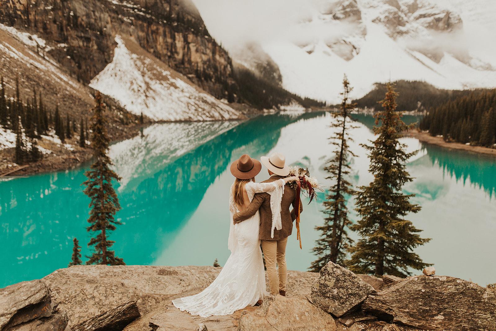 Banff Elopement l Lake Moraine Elopement l Vintage Bolo Tie l Pampas Grass Boho Boquet l Rue Design Wedding Dress l Banff Wedding Photographer l Destination Wedding Photographer l Katy Rose Photo_-59.jpg
