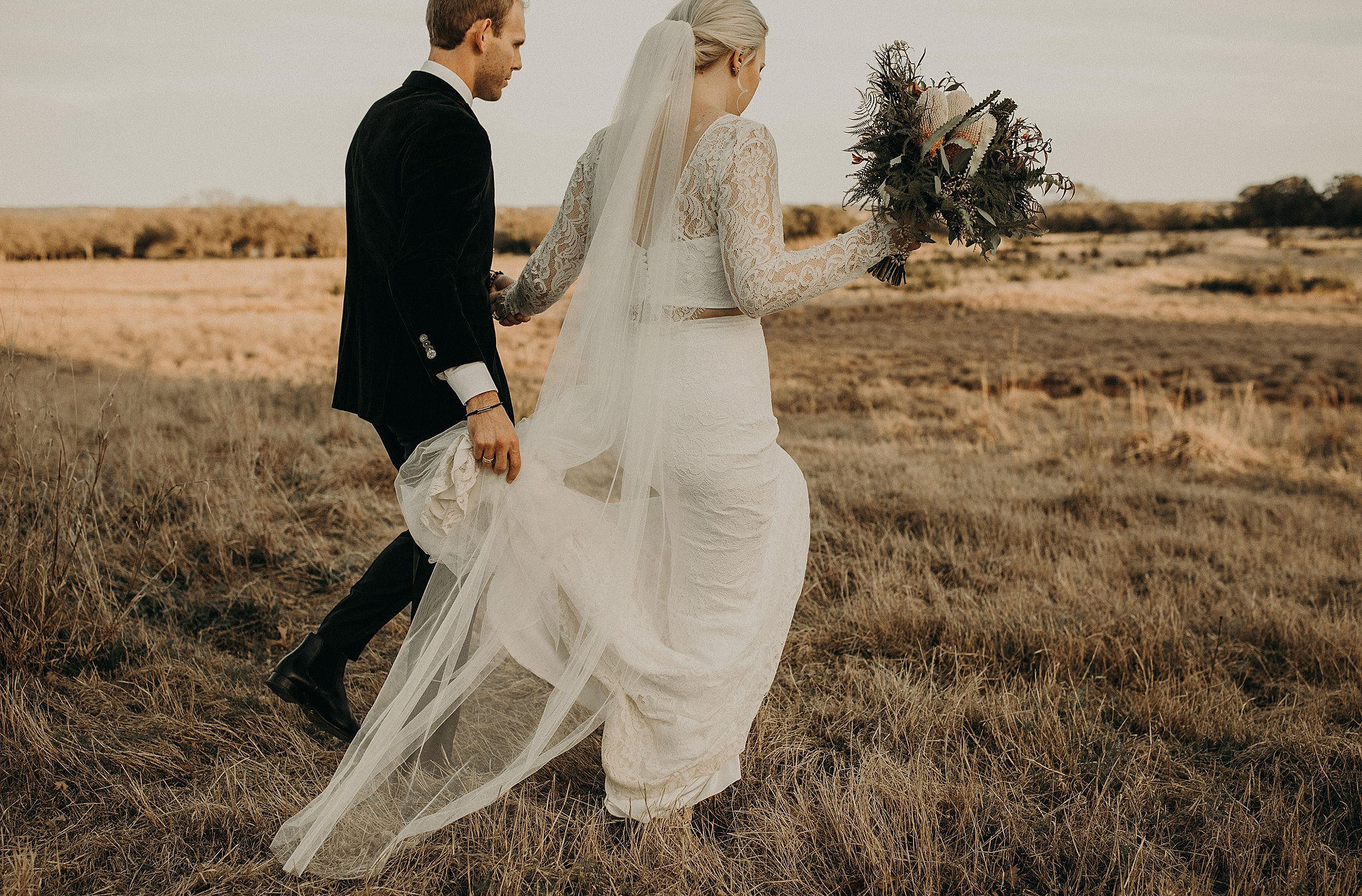 d7e2fa5207fe Real Wedding: Courtney + Colt :: Modern + Industrial Chic Details in a  two-piece Theia gown