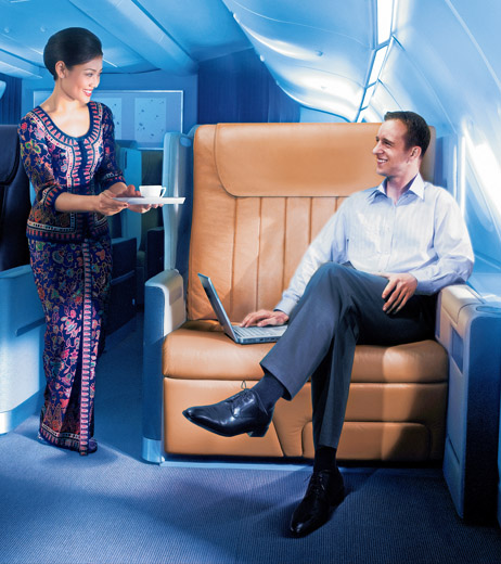 Singapore Airline's Business Class seat on the A-380 is the largest in the skies - and has just been revamped in a new product launch. Photo: SIA