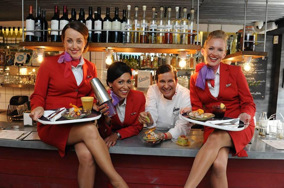 Virgin Atlantic flight attendants at the airline's first pop-up restaurant. Photo: Virgin Atlantic