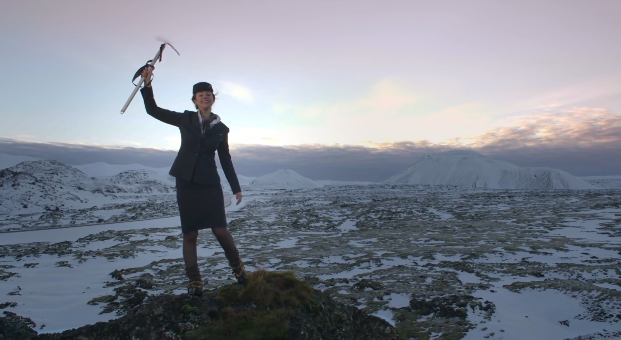 One of the Icelandair cabin crew available as a 'Stopover Buddy'