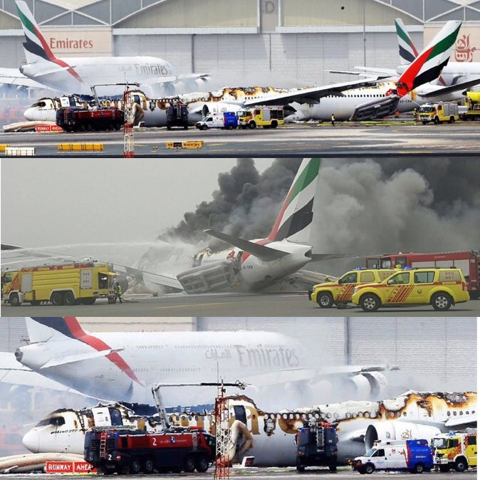 Images of EK521 after it crash landed at Dubai International Airport