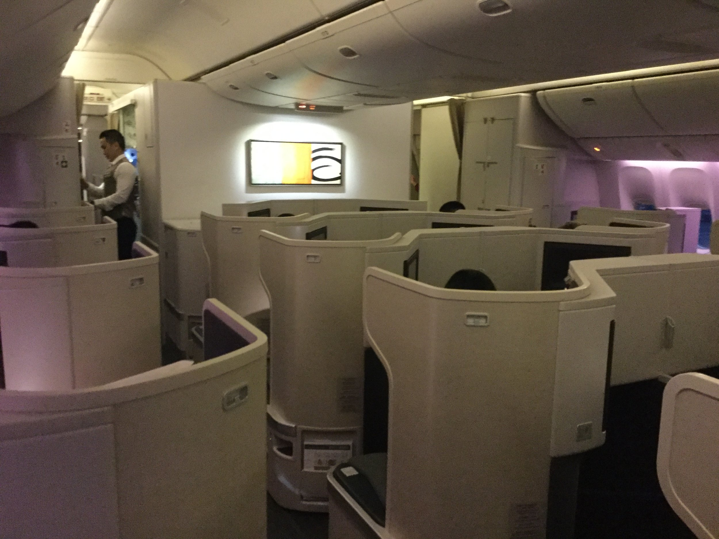 The Boeing 777-300 has a 1-2-1 configuration. All seats have aisle access.