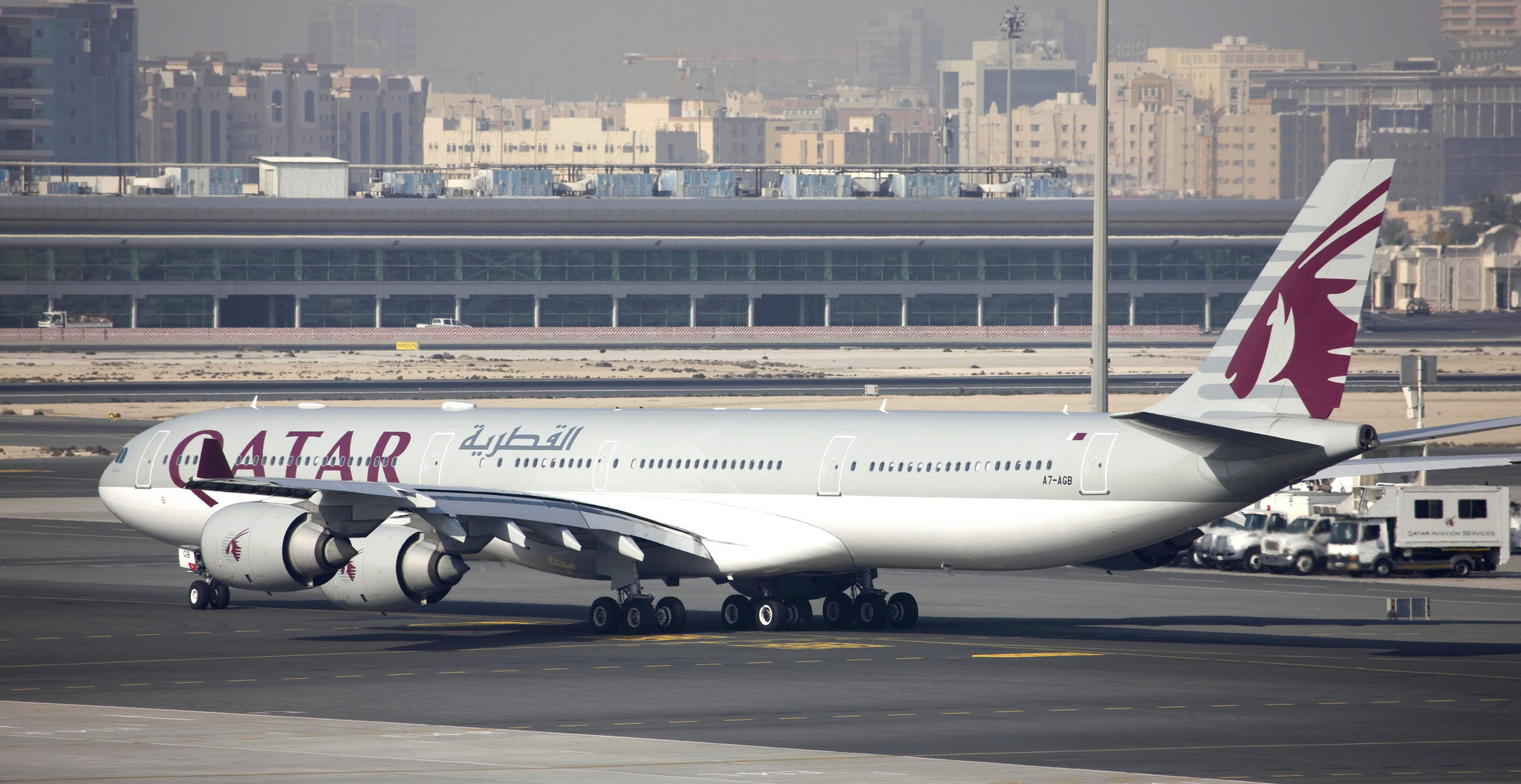 A Qatar Airways wide body jet at its home base. Credit: Qatar Airways