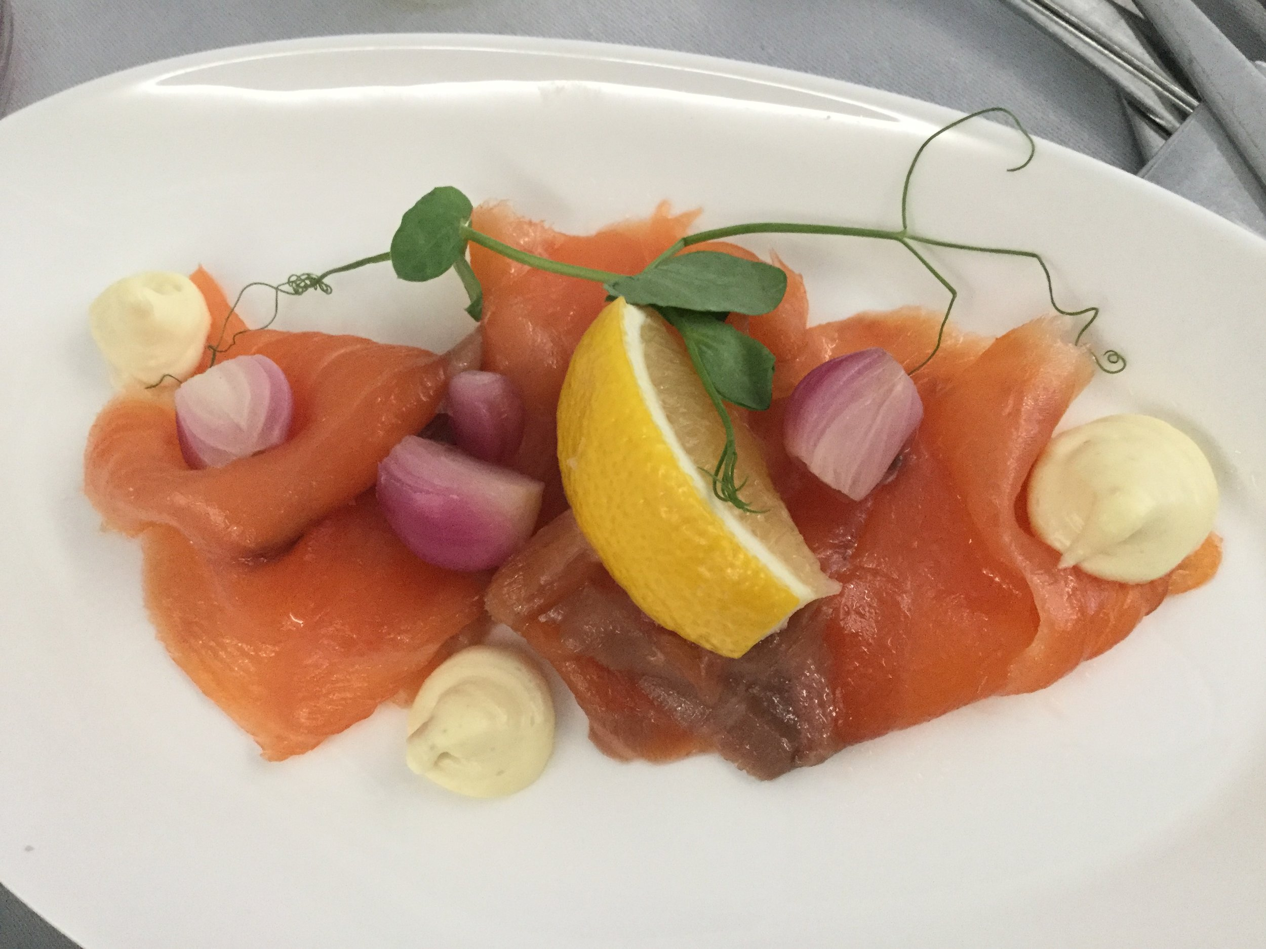 The Scottish Smoked Salmon, served as a lunch starter out of Heathrow, was absolutely heavenly!