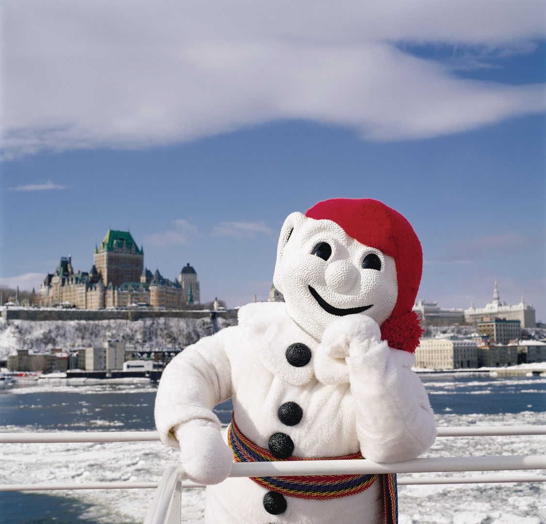 The iconic 'Bonhomme' at the annual Quebec City winter carnival. Credit:  Xavier Dachez