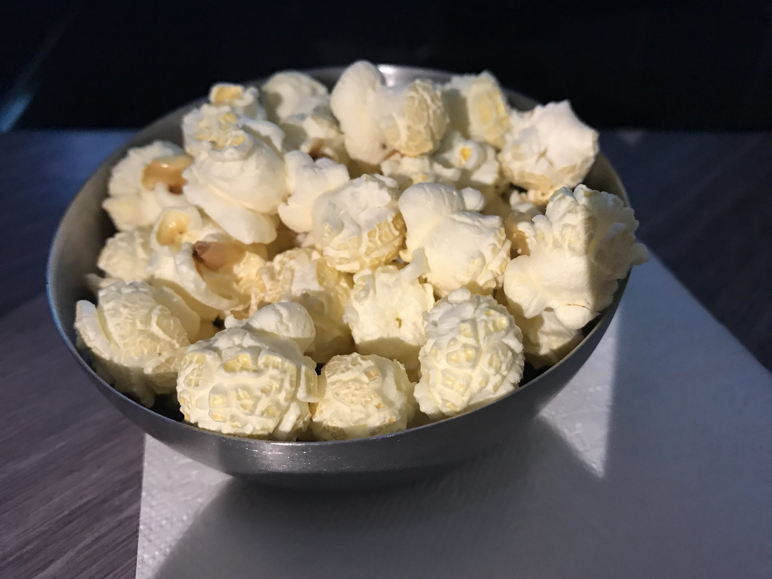 Truffle-flavoured popcorn served just after takeoff