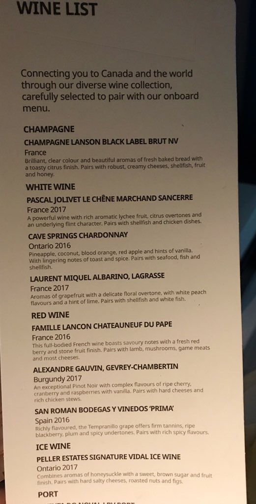 An impressive wine list with Canadian touches