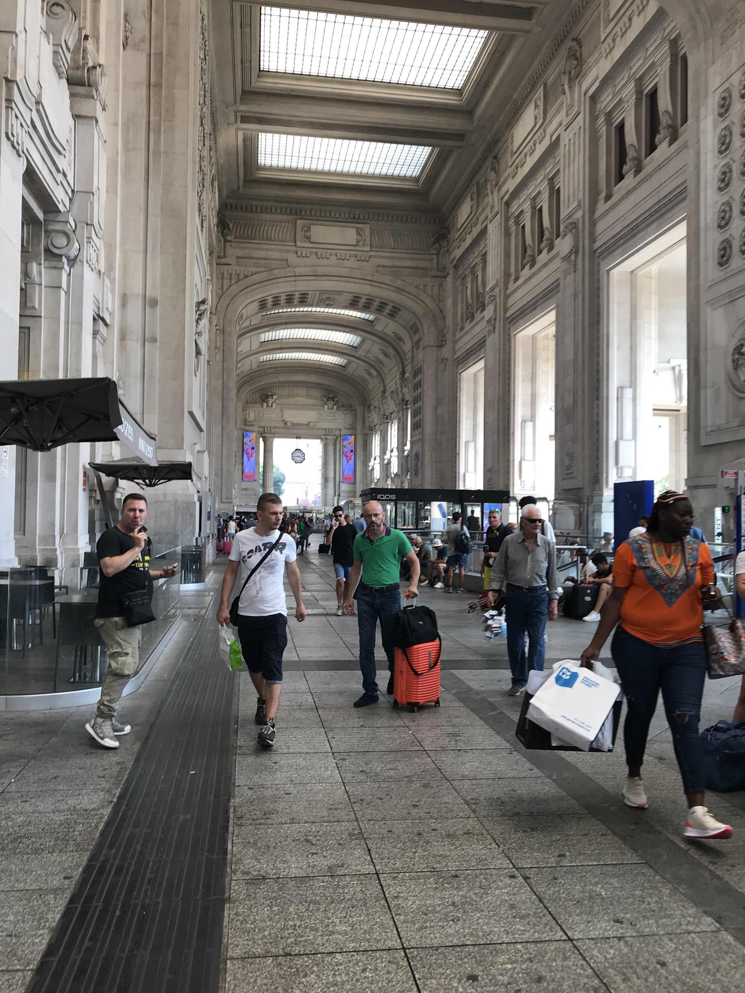 The cavernous Milano Centrale Station, the terminus for the Malpensa airport express train