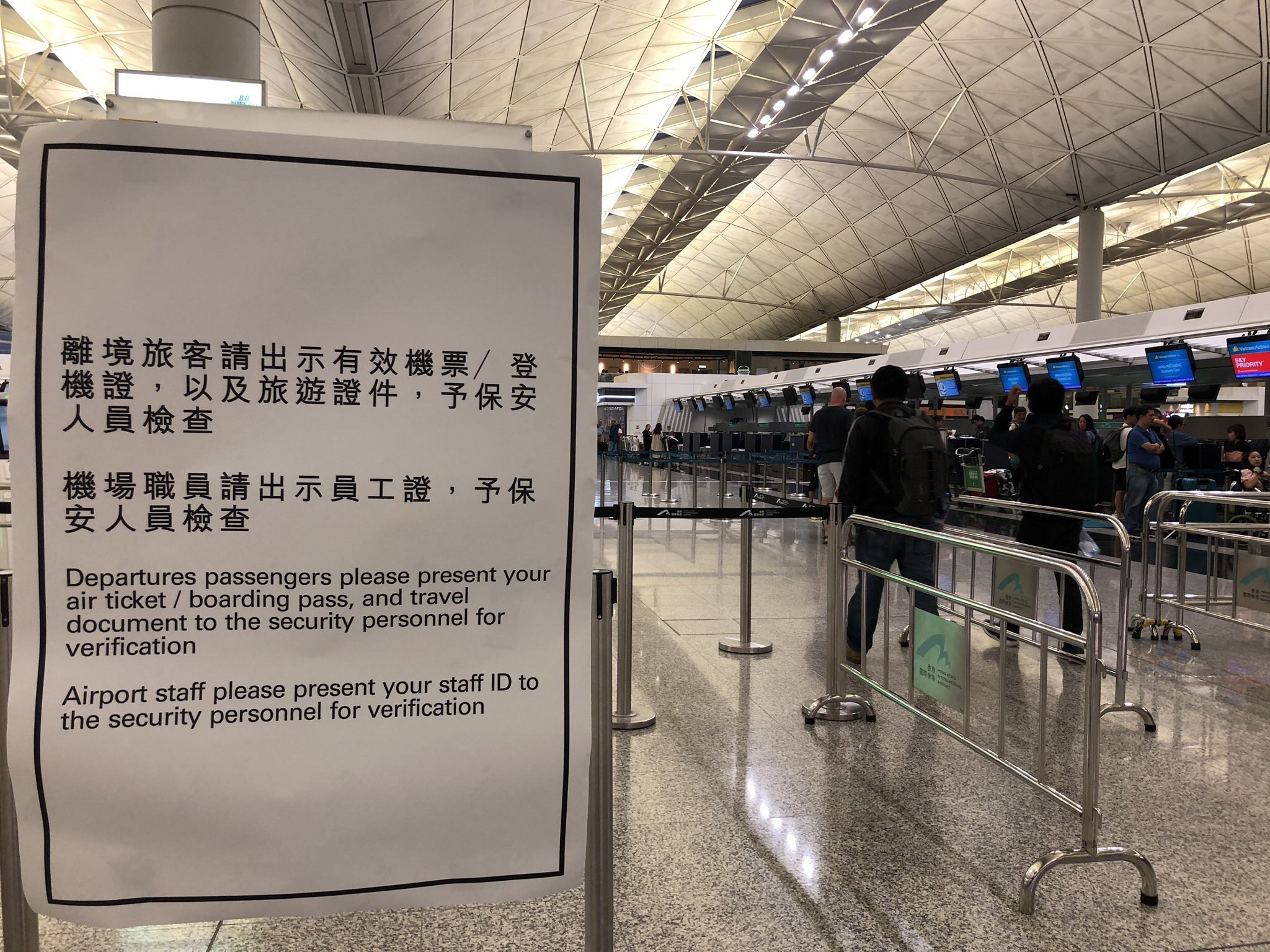 Stringent new security checks have been introduced at HKIA as protests continue at the airport.