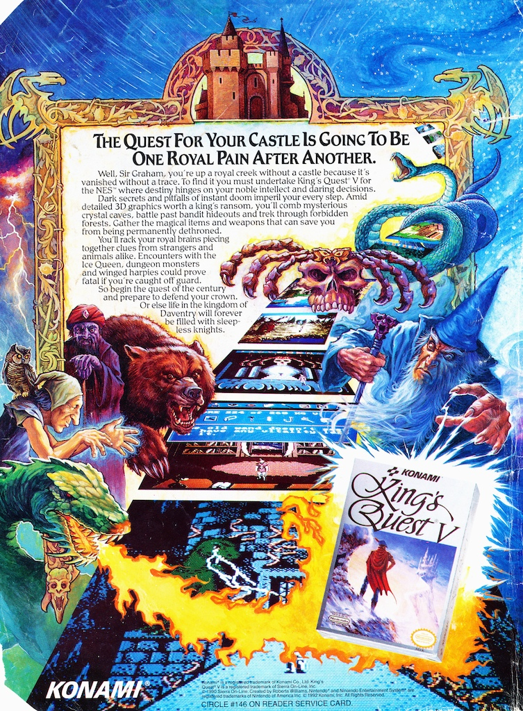 King's Quest V print advertisement for Nintendo NES - Sierra game, published by Konami.