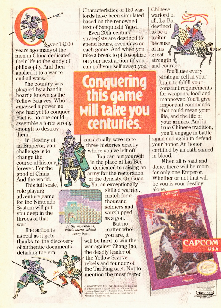 Capcom wrote out a full page advertisement for Destiny of an Emperor. As if this game wasn't hard enough to sell!