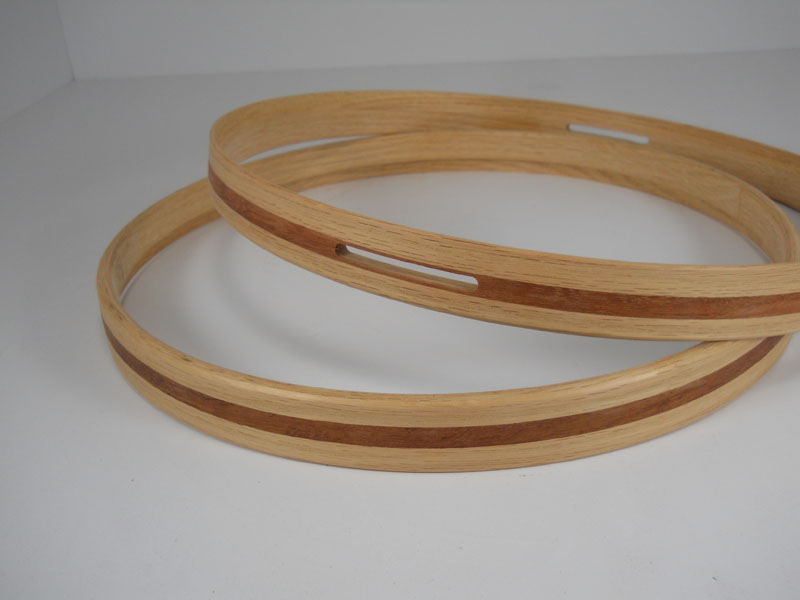 Red oak and bubinga Hide-A-Head hoops with snare gates