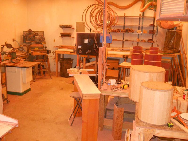 Inside the DaVille Drumworks shop.