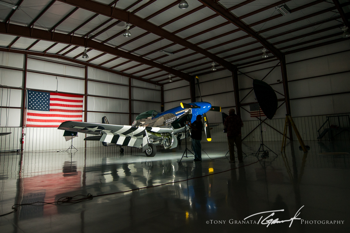 BTS image showing the (4) Westcott Spiderlite setup inside the hangar.