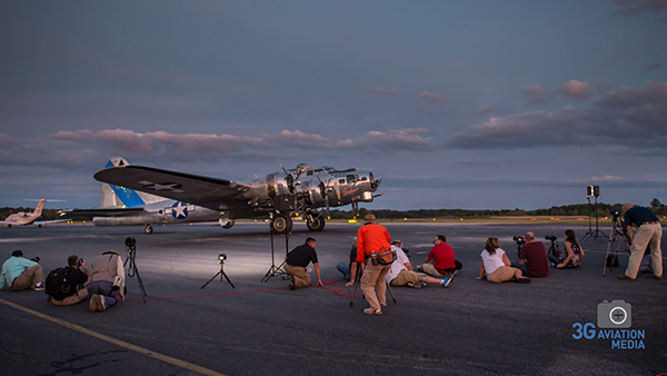 "Workshop attendees from the 2014 Atlanta Warbird Weekend photograph B-17 ""Sentimental Journey"""