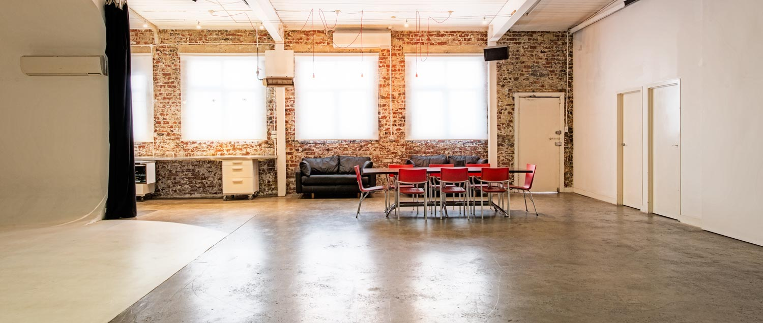 Pared back brick walls and polished concrete floors.