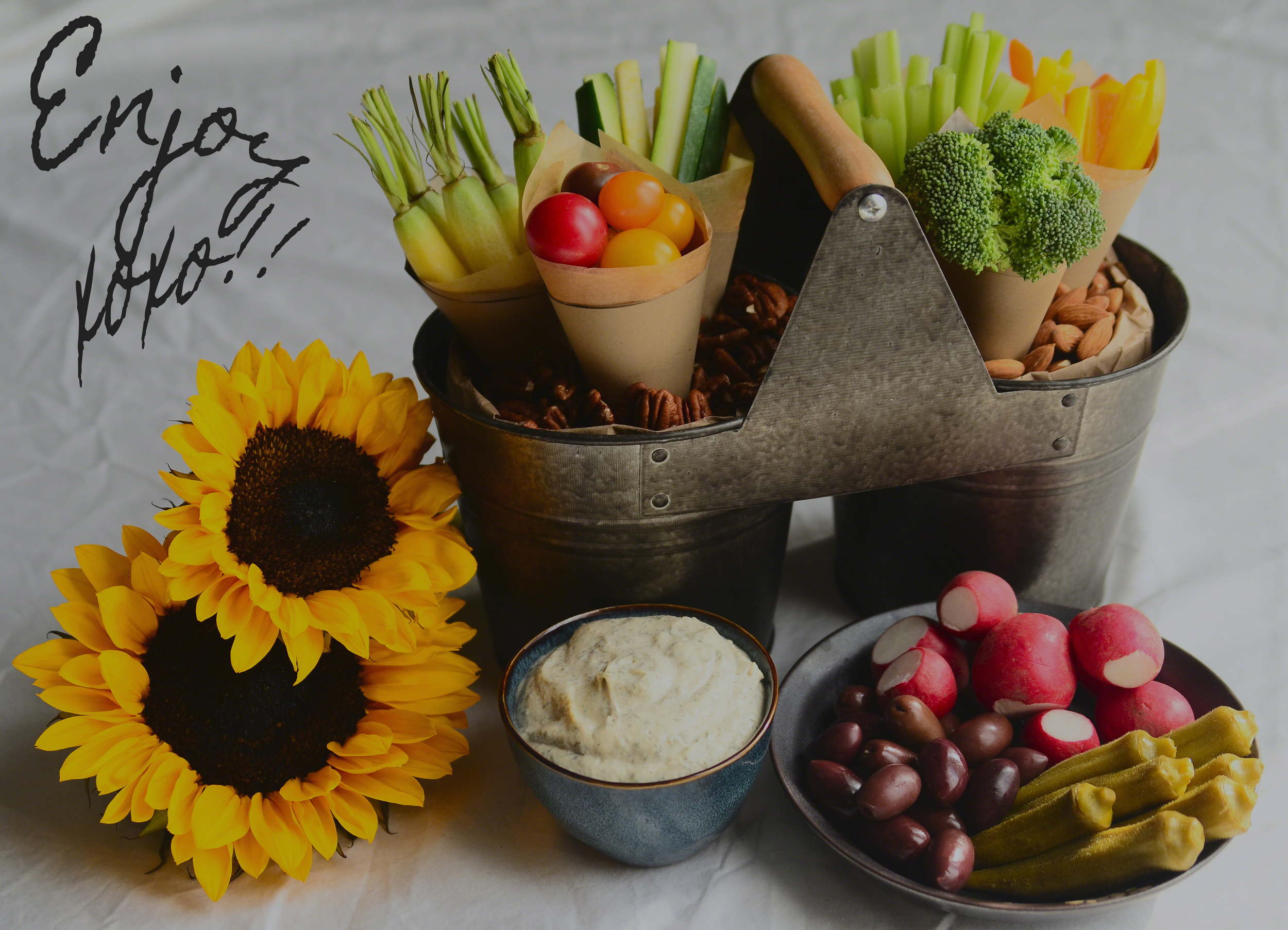 Garden Party Crudités(veggies) with Cashew Ranch Dip {dairy-free} | Seed Plant Water Grow