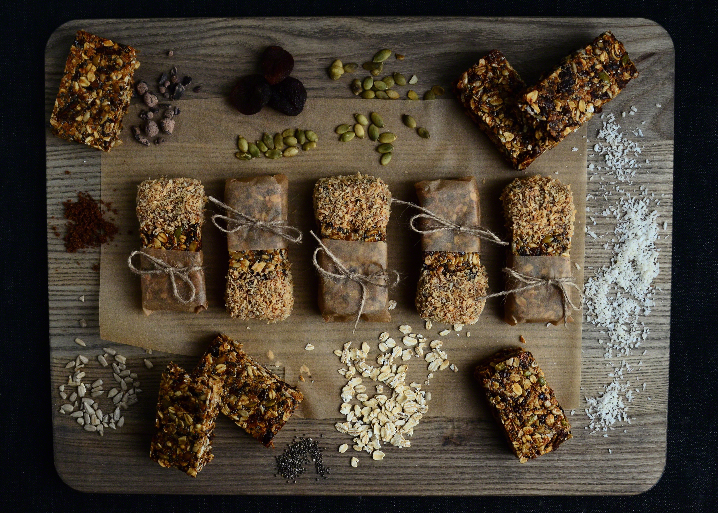 Apricot Oat + Seed Bars with Cacao Sweet Nibs dipped in Toasted Coconut | Seed Plant Water Grow