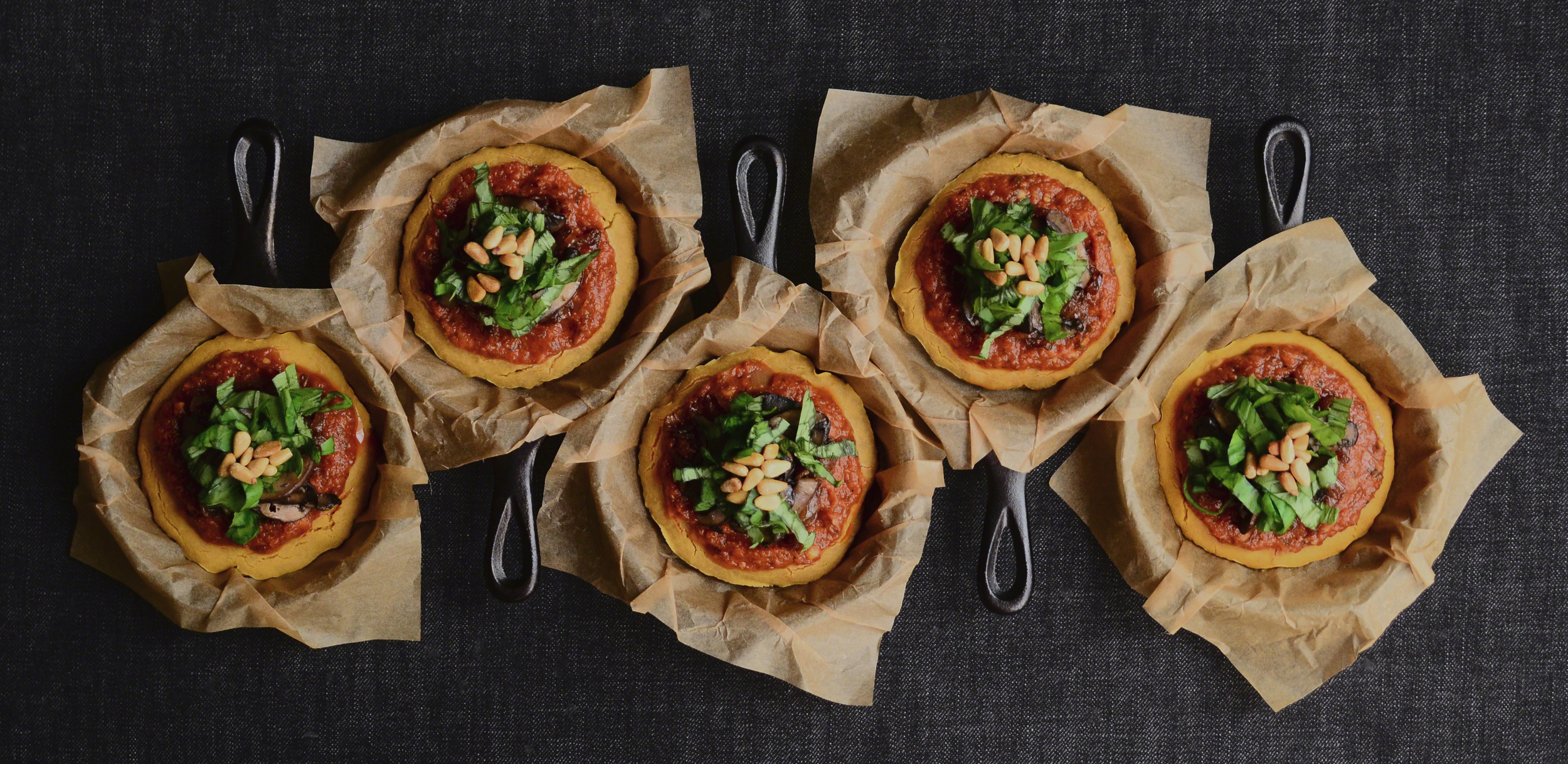 Sweet Potato Quinoa Mini Cake Pizzas with Caramelized Onions + Sautéed Baby Bellas topped with Fresh Basil and Toasted Pine Nuts | Seed Plant Water Grow