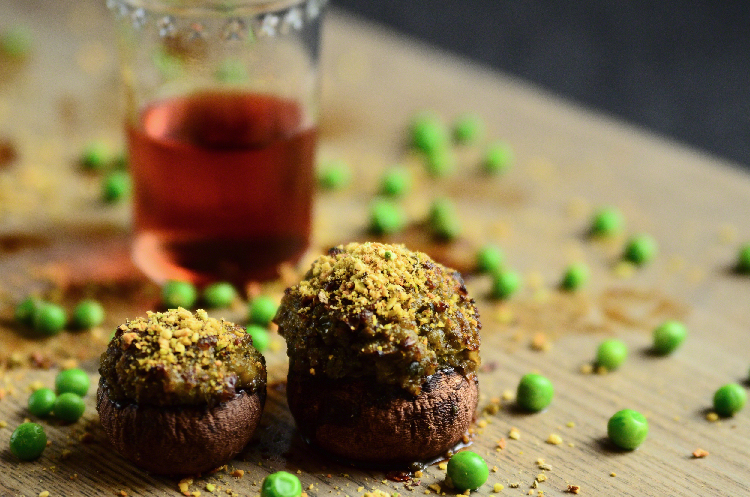 Pea + Shallot Stuffed Crimini Mushrooms topped with Balsamic and Sage Infused Crushed Pistachios   Seed Plant Water Grow