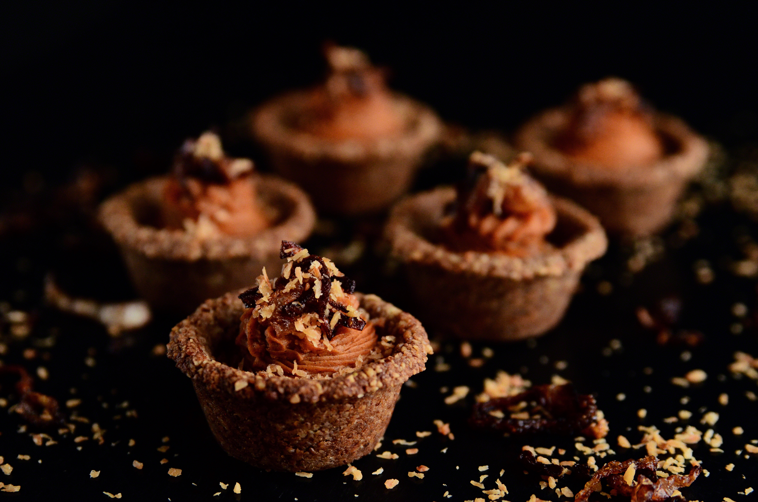 Pumpkin Pie Spice Sweet Potato Mash + Pecan Mini Cups topped with Crispy Shallots and Toasted Coconut   Seed Plant Water Grow