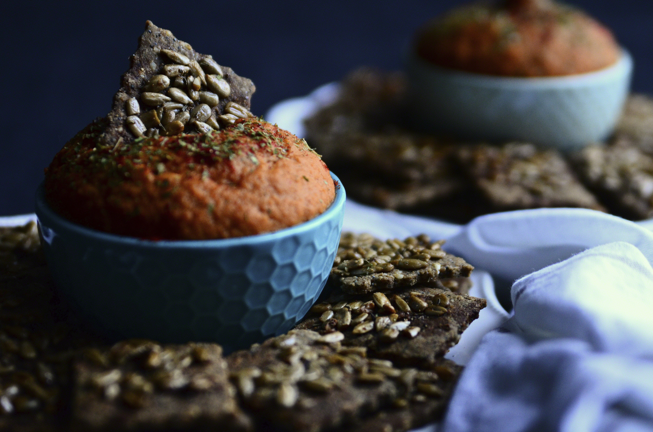 Smoky Scalloped Sweet Potato Onion Dip{dairy-free} + Almond Quinoa Crackers topped with Honey Glazed Sunflower Seeds   Seed Plant Water Grow