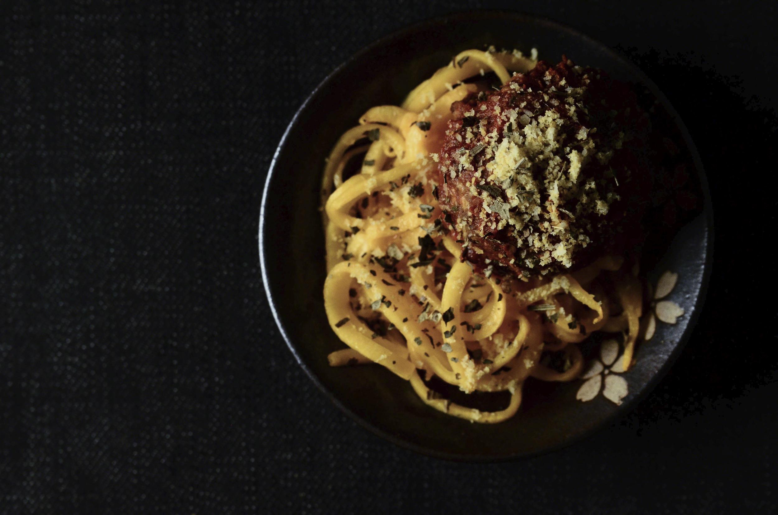 Quinoa, Oat, Cauliflower, Walnut, & Black Bean Vegan Meatballs with Marinara & Butternut Squash Noodles topped with Almond Coconut Parmesan & Basil | Seed Plant Water Grow