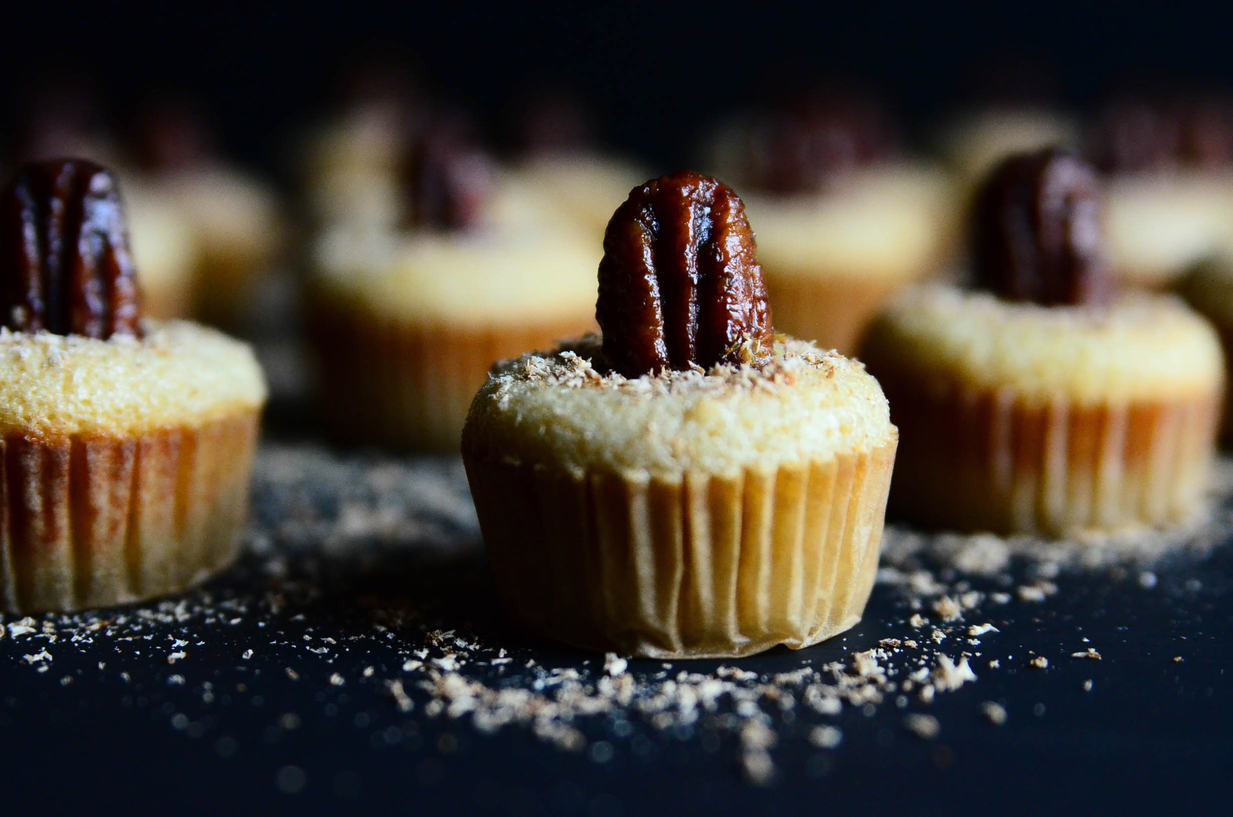 Honey Butter Bourbon Pecan Chess Mini Muffin Poppers topped with Nutmeg | Seed Plant Water Grow