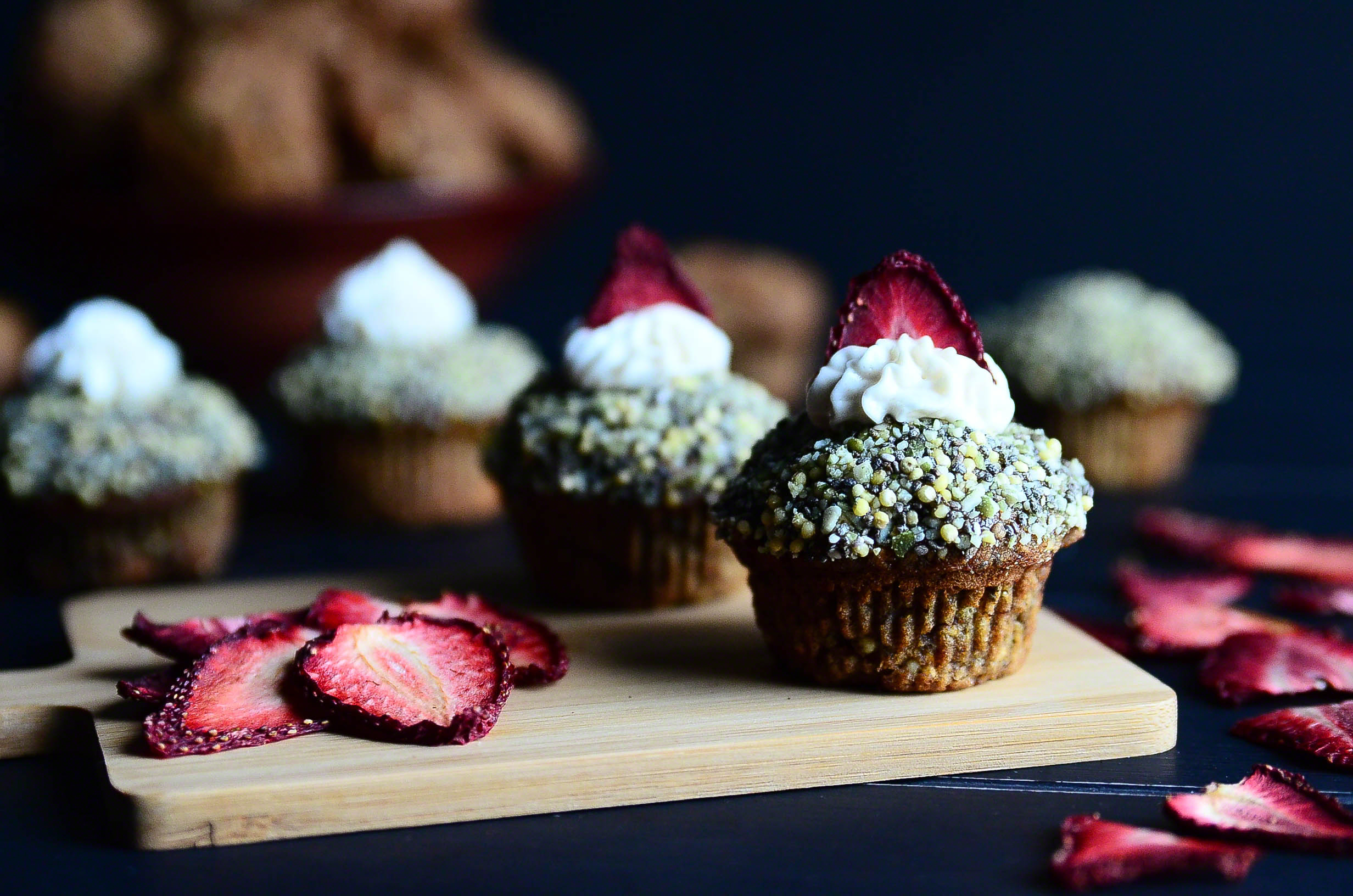 Three Seed Morning Muffins topped with Coconut Buttercream and Dehydrated Strawberries(Vegan + GF) | Seed Plant Water Grow