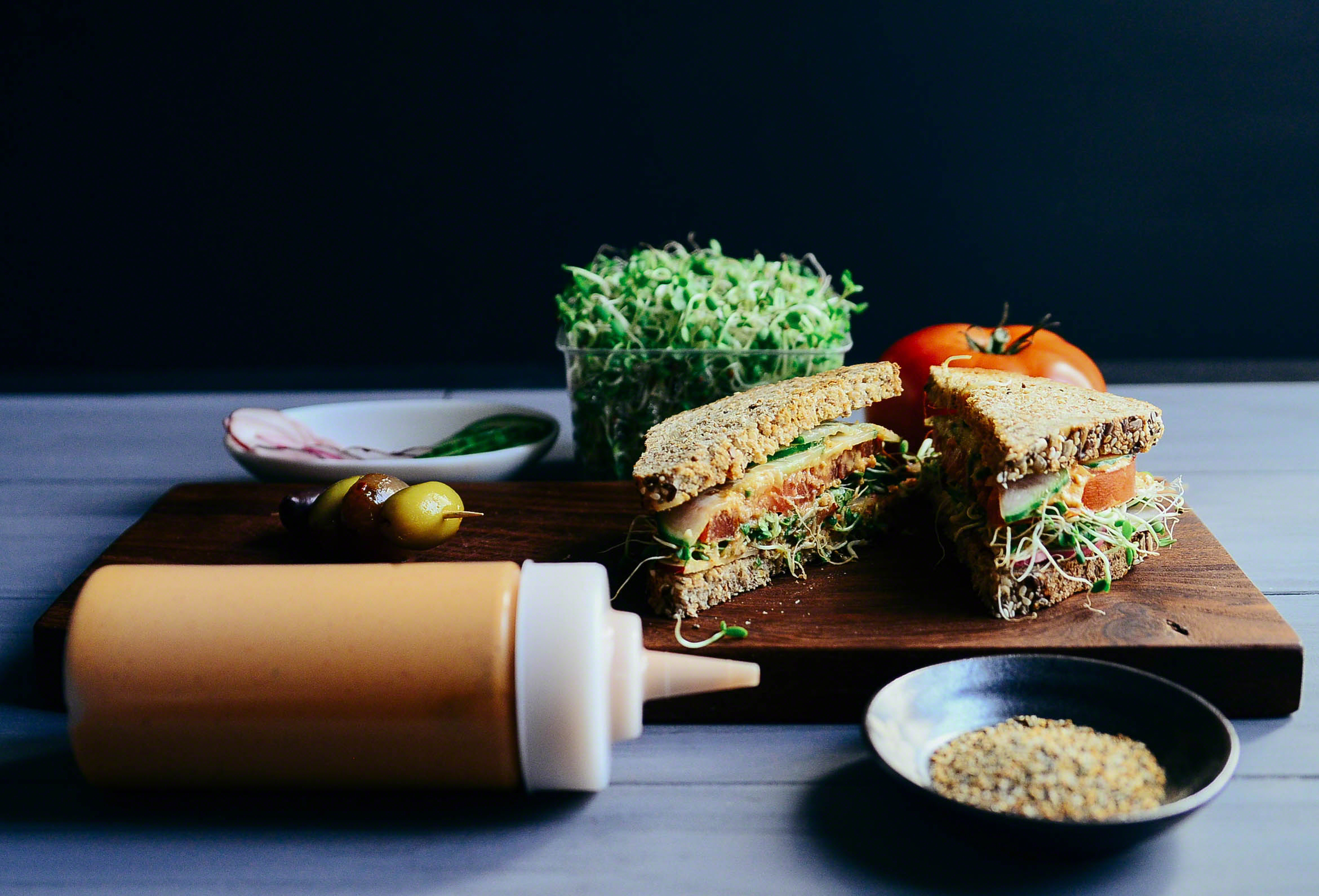 Road Trip Picnic Part 1:  Spicy Sprout Veggie Sandwich with Smoky Artichoke Mayo   Seed Plant Water Grow