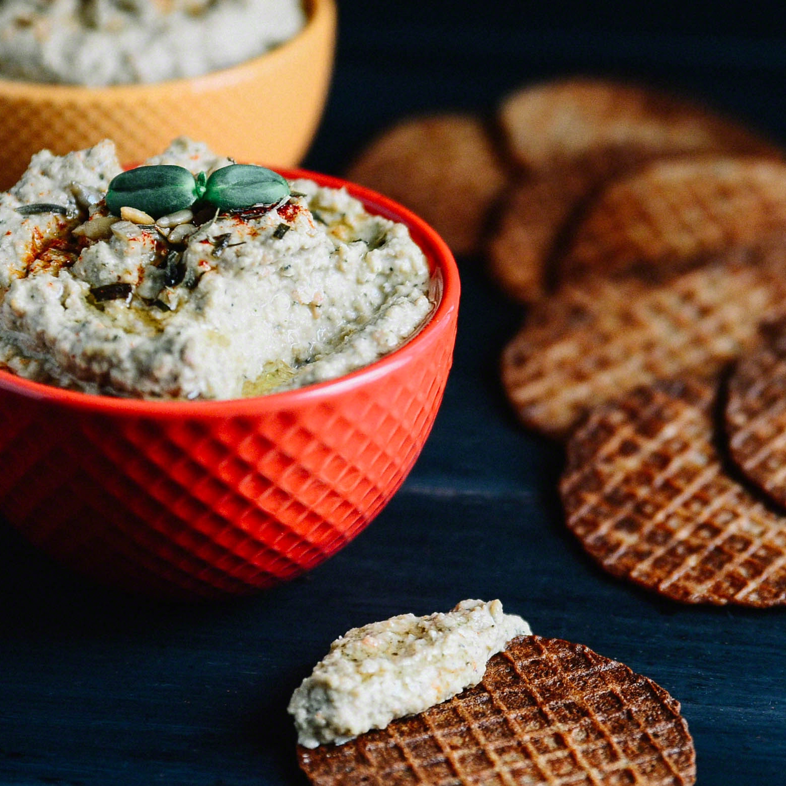 MINI WAFFLE WAFERS WITH SUNFLOWER VEGGIE DIP | SEED PLANT WATER GROW