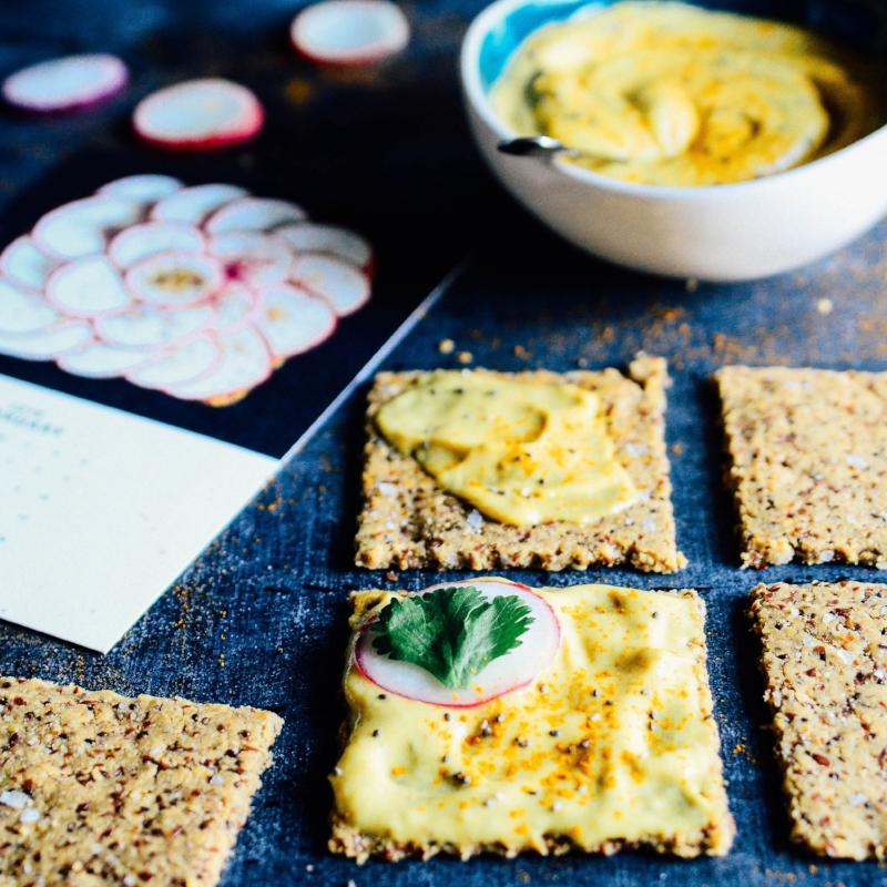 Lemon Seed Crackers topped with Banana Butter and Radish | Seed Plant Water Grow