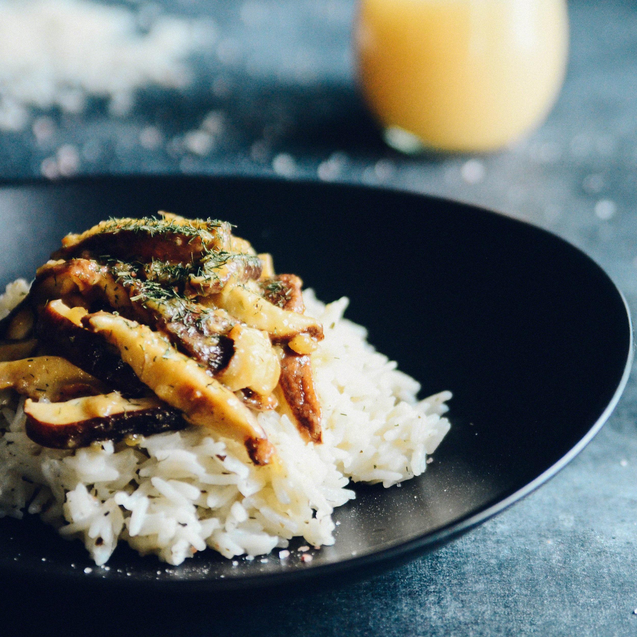 Coconut Rice with Sweet Lemony Garlic Shiitake Sauté | Seed Plant Water Grow